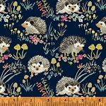Enchanted Forest 43499-2 Navy Happy Hedgehogs by Windham