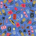 Les Fleurs 8000-01 Periwinkle Bon Voyage by Rifle Paper Co for Cotton + Steel