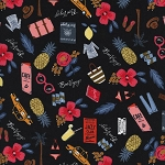 Les Fleurs 8000-02 Black Bon Voyage by Rifle Paper Co for Cotton + Steel