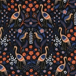 Les Fleurs 8001-01 Black Tapestry by Rifle Paper Co for Cotton + Steel