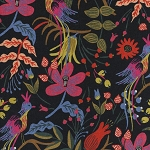 Les Fleurs 8010-12 Black Folk Birds CANVAS by Cotton + Steel
