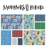 Monsters vs. Robots 9 Fat Quarter Set by Blend
