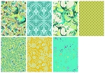Pinkerville 7 Fat Quarter Set in Frolic by Tula Pink for Free Spirit