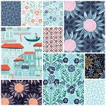 Grand Canal 10 Fat Quarter Set in Aqua by Kate Spain for Moda