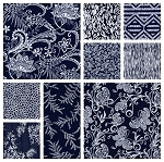 Indigo Blues 9 Fat Quarter Set by Henry Glass