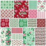 Peppermint Rose 18 Fat Quarter Set by Verna Mosquera for Free Spirit