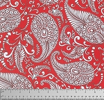 Merry Mistletoe PWDF233 Red Paisley by Free Spirit