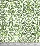 Merry Mistletoe PWDF234 Green Scrollwork by Free Spirit
