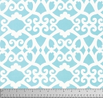 Meadow PWDF244 Aqua Clover Damask by Free Spirit