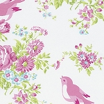 Zoey's Garden PWTW116 White Birds by Tanya Whelan for Free Spirit