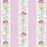 Zoey's Garden PWTW121 Pink Butterfly Floral Stripe by Free Spirit