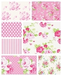 Sadie's Dance Card 7 Fat Quarter Set in Pink by Free Spirit