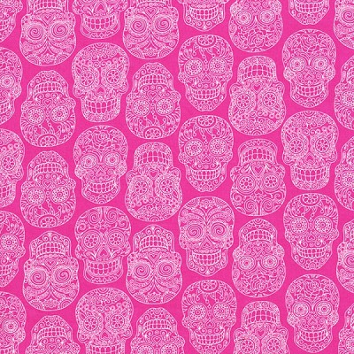 Fabric Fiesta 2022-004 Pink Skulls by Dan Morris for RJR