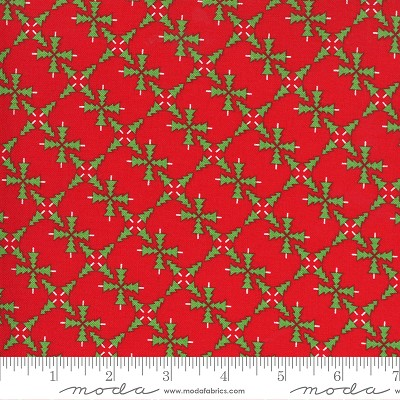 Merry & Bright 22401-11 Poinsettia Red Merry Forest by Moda