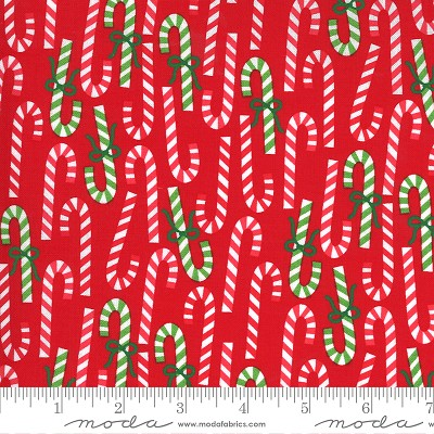 Merry & Bright 22402-11 Poinsettia Red Merry Canes by Moda