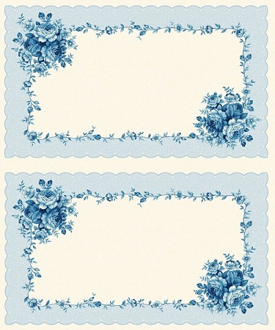 Symphony Rose Blue 25393 Blue Panel by Red Rooster