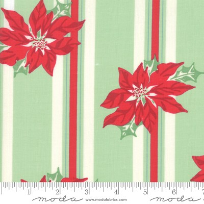 Sweet Christmas 31150-14 Spearmint Poinsettia Stripe by Moda