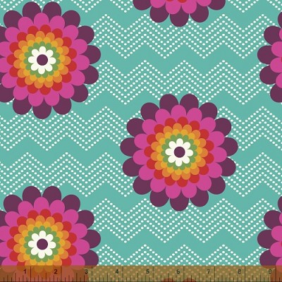Mosaica 39561-2 Aqua Floral Chevron by French Bull for Windham