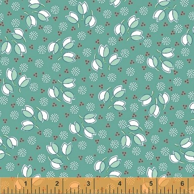 Hazel 40840-7 Teal Tossed Flowers by Allison Harris for Windham
