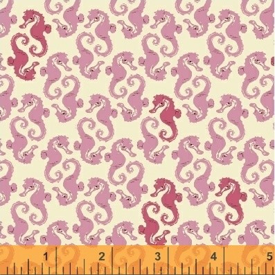 Mendocino 40941-14 Cream/Pink Sea Horses by Heather Ross for Windham