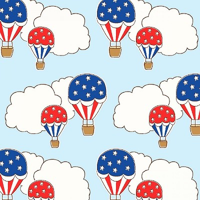 Storybook Americana 42344-3 Blue Hot Air Balloons by Windham