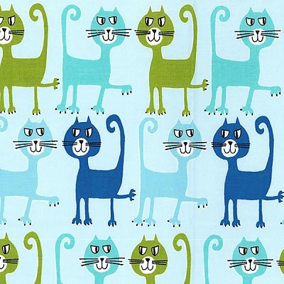 Dancing Cats CX6999 Aqua by Michael Miller