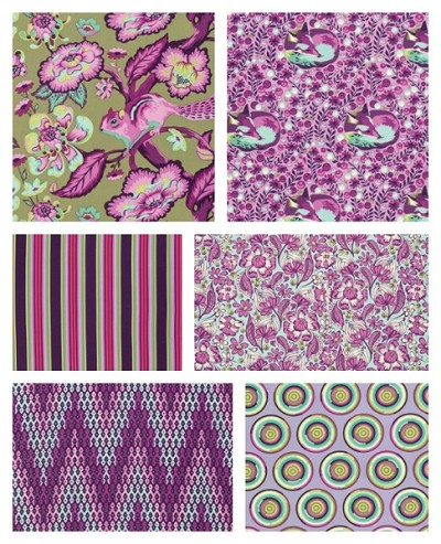 Chipper 6 Fat Quarter Set in Raspberry by Tula Pink for Free Spirit