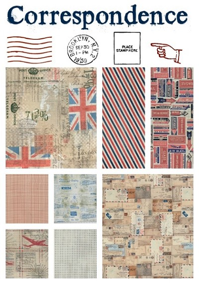Correspondence 8 Fat Quarter Set by Tim Holtz for Coats
