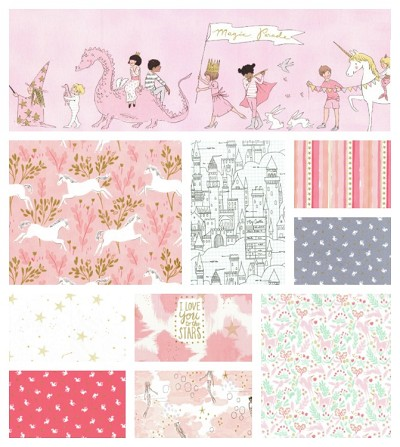 Magic 10 Fat Quarter Set in Pink by Sarah Jane for Michael Miller