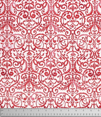 Merry Mistletoe PWDF234 Red Scrollwork by Free Spirit