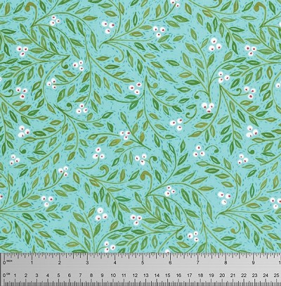 Merry Mistletoe PWDF236 Aqua Holly Berries by Free Spirit