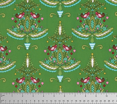 Merry Mistletoe PWDF238 Green Partridge by Free Spirit