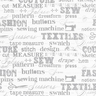 Sewing Studio 14864-12 Gray Sewing Words by Robert Kaufman