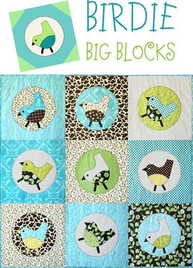 Birdie Big Blocks Quilt Pattern by Cabbage Rose Quilts