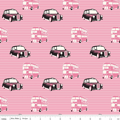 British Invasion C3841 Pink Taxi by Riley Blake