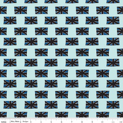 British Invasion C3844 Blue Flags by Riley Blake