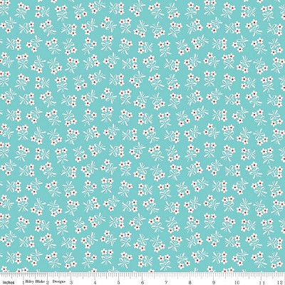 Strawberry Biscuit C5106 Aqua Daisy by Elea Lutz for Penny Rose