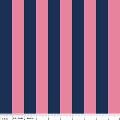 Medium Stripe C540-132 Hot Pink and Navy by Riley Blake