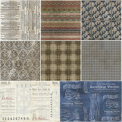 Dapper II 8 Fat Quarter Set by Tim Holtz for Coats