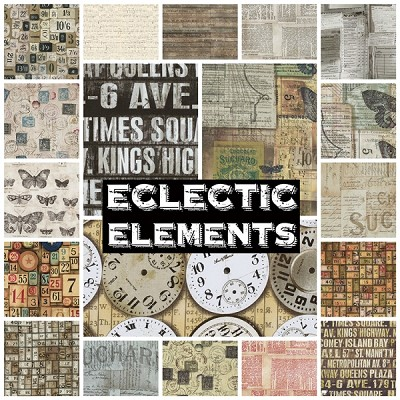 Eclectic Elements 19 Fat Quarter Set by Tim Holtz for Coats