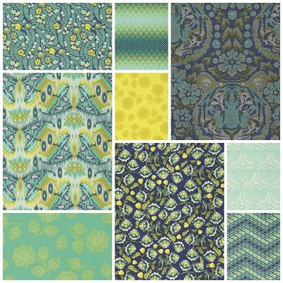 Eden 9 Fat Quarter Set in Sapphire by Tula Pink for Free Spirit
