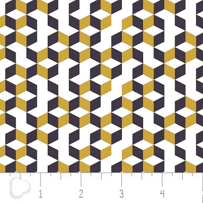Kate 2141302-3 Mustard Tiles by Camelot Fabrics