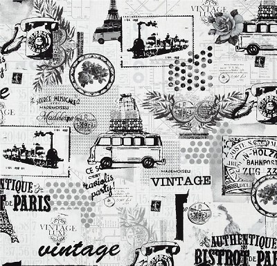 Vintage Scrapbook 3710-12 Black & White by Benartex
