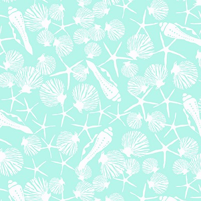 Low Tide 7552-G White Shells on Aqua by Jane Dixon for Andover