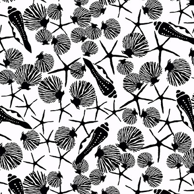 Low Tide 7552-K Black Shells on White by Jane Dixon for Andover