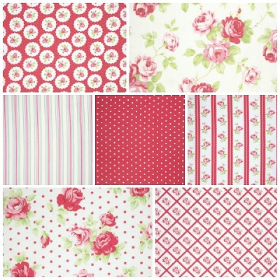 Lulu Roses 7 Fat Quarter Set in Red by Tanya Whelan for Free Spirit