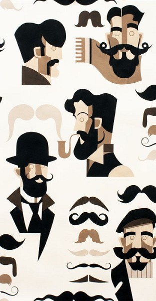Mister Stache 7976-A Tea by Nicole Miller for Alexander Henry