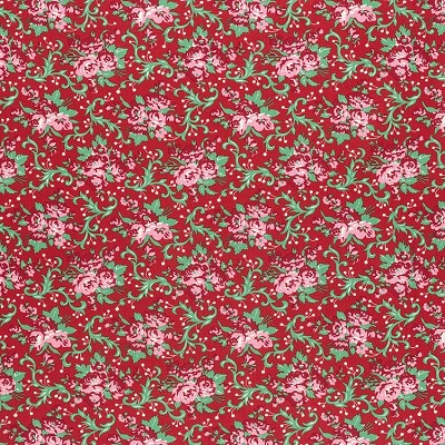 Peppermint Rose PWVM178 Cranberry Holly Berry by Free Spirit