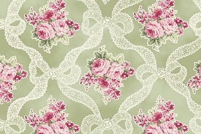 RURU Bouquet RU2200-13C Green Ribbons and Roses by Quilt Gate EOB