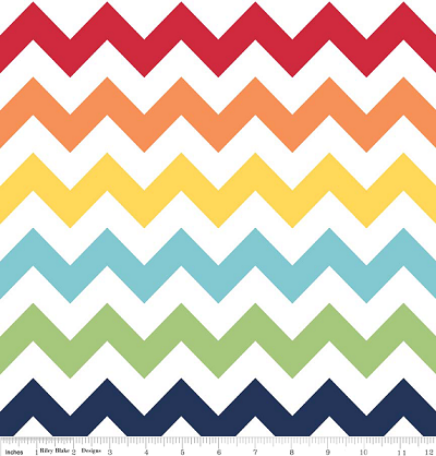 "Medium Chevron 108"" Wide WB320-01 Rainbow by Riley Blake EOB"